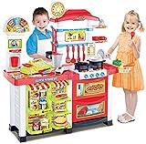 Cocina de juguete con supermercado - Cocina moderna con la luz, el sonido, hervidor de agua y un monton de accesorios - Mi primera cocina - Mini Kitchen - Tienda de juguete con muchos accesorios, gran mercado