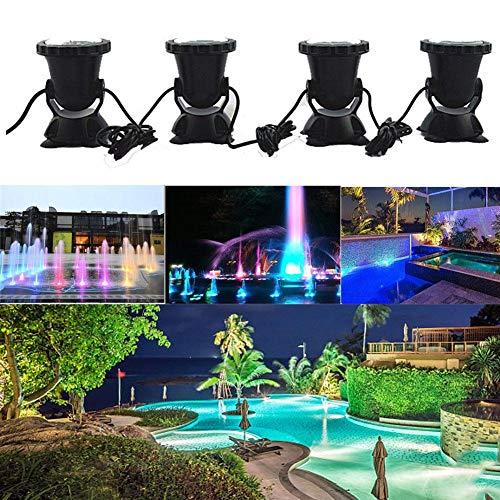 knowledgi - Juego de 4 Luces RGB con Mando a Distancia para jardín, Paisaje, luz con Pinchos para Acuario, Tanque de Pescado, luz LED de estaño, Foco para proyector Submarino IP68