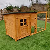 FeelGoodUK Chester Chicken Coop and Run Lift Up Lid Nestbox Ventilated Perches Locks Solid Wood 160cm Width 75cm Depth 80cm Height