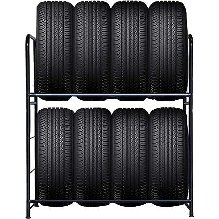 Froadp 107×46×117cm Porte-Pneu Deux Couches pour 8 pneus Étagère d'atelier de Garage Rayonnages de Rangement Poutre de Jante Rack Support Lourd Chargeable 180KG (Revêtement en Poudre Noire)