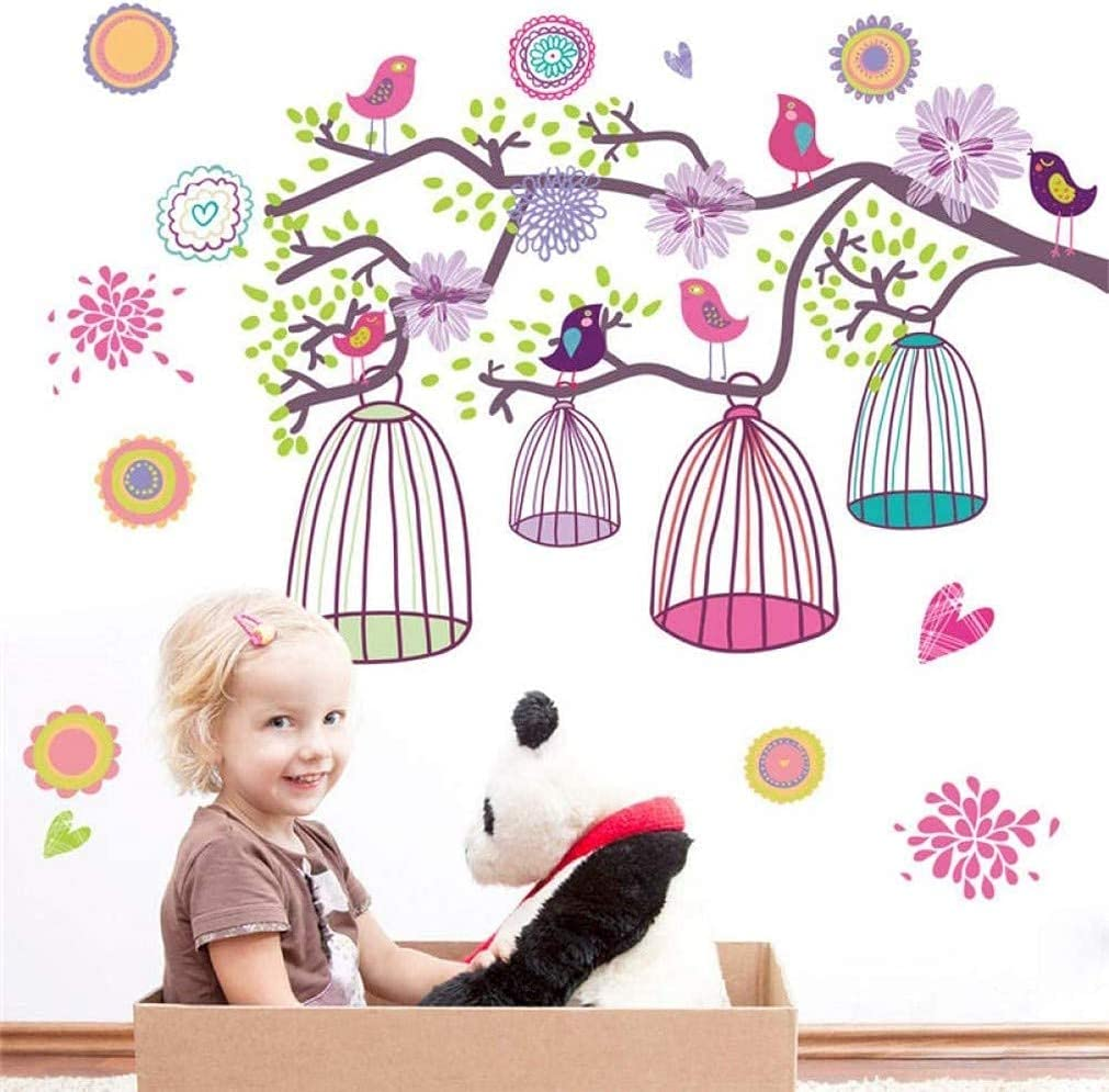 QRDYL Sticker Birdcage Bird 70% OFF Outlet Floral Kids Stickers Wall Rooms for New Orleans Mall
