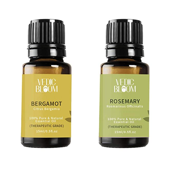 Vedic Bloom 100% Natural Rosemary & Bergamot Essential Oils Combo for Hair Problem Solutions and Natural Hair Care Remedy 15 ml+ 15 ml