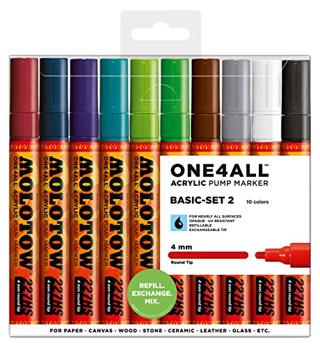 Molotow One4All 227HS Acryl Marker (Basic-Set 2, 4 mm Spitze, hochdeckend und permanent, UV-beständig, für fast alle Untergründe) 10 Stück sortiert