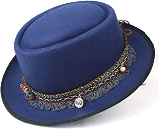 2019 Mens Womens Hats Men Women Unisex 2019 Fashion Flat Top Hat Fedora Hat for Gentleman Pork Pie Hat with Tassel Ribbon Vintage Trilby Fedora Hat Casual Wild Hat (Color : Blue, Size : 58)