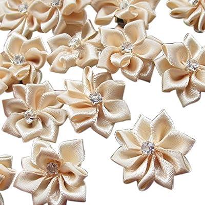 Chenkou Craft 40pcs 28mm(1 1/8) Satin Ribbon Flowers Bows Rhinestone Appliques