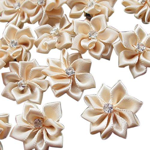 Beige 40pcs 28mm(1 1/8) Ribbon Flowers Bows Rhinestone Wedding Ornament Appliques