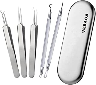 VOBAGA Blackhead Remover Pimple Comedone Extractor Tool Curved Acne Removal Kit,Treatment for Blemish,Whitehead Popping,Fat Particles,Zit popper with Silver Metal Case (Tweezers Kit 5pcs)