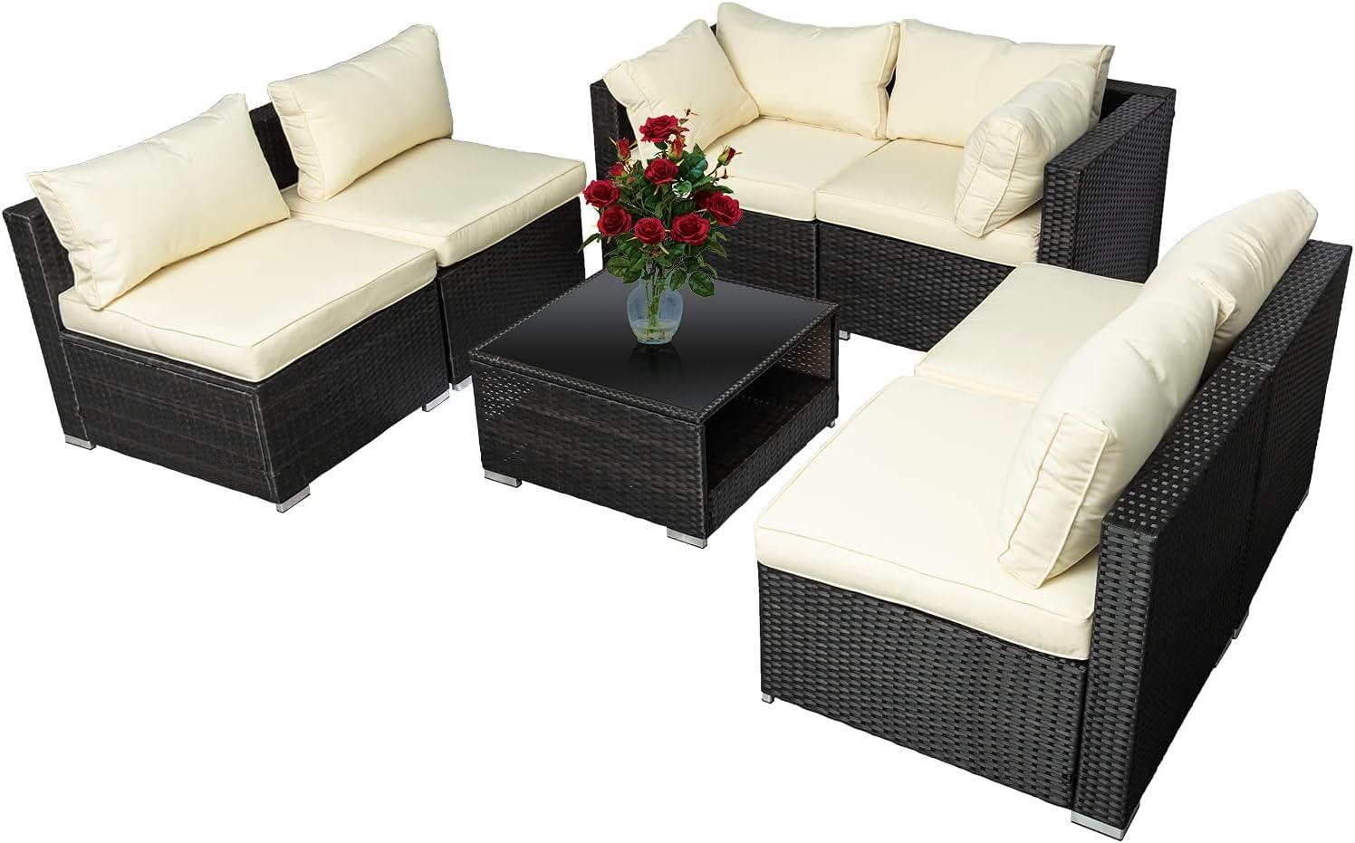 7 本店 Pieces Outdoor Patio Furnitu Wicker Sofa Rattan お値打ち価格で