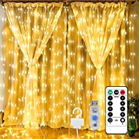 Sujeet Curtain Lights, Fairy Lights Curtain, 300 LED 3M Warm White Curtain String Lights 8 lighting modes, Twinkle Lights...