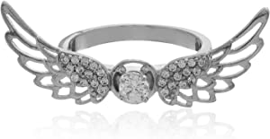 DAR Band Ring for Women 18K White Gold Plated - Size 8
