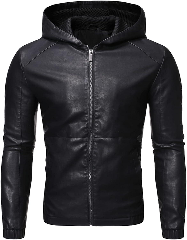 Men's Faux Leather Hoody Jacket,Slim-Fit Biker Jackets,Windproof and Warm Coats