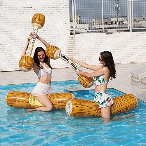 TUAN Twee kussens en twee stokken houten graan drijvende mat drijvende rij set water entertainment water spelletjes speelgoed zwemmen ring