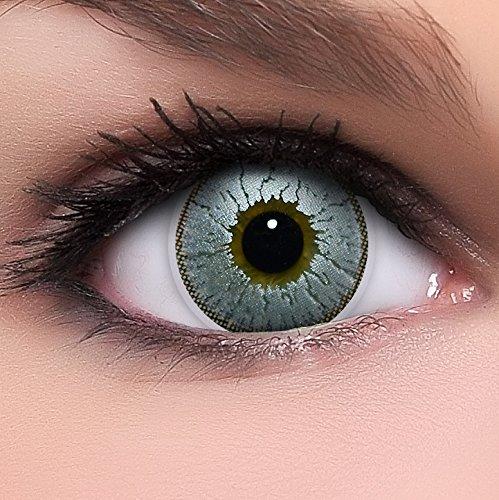 Circle Lenses silber 'Silver Glitter' ohne Stärke + Behälter 14,50mm farbige Kontaktlinsen
