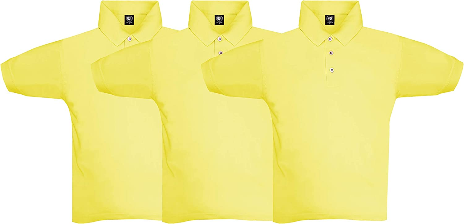 HOI Boy's &Girl's Pique Uniform Polo T-Shirts with Bottons and Collar, 3-Pack