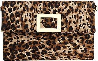 Gets Womens Leopard Evening Clutch Bag Leather Envelope bag Party Clutch Purse