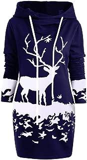 TianWlio Christmas Hoodie Dress for Womens Reindeer Printed Drawstring Hooded Winter Warm Fuzzy Coat Jacket