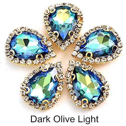 20pcs Nähen Sie auf Strass mit Spitze Klaue Kristall Mokka Bunte Strass Flatback für DIY Kleidungsstücke Kleidung B1217, Dark Olive Light