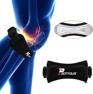 پشتیبانی از زانو PrettyCare Patella Strap (مواد سیلیکون منحصر به فرد با 2 بسته با پد لمسی کاملا قابل تنظیم Tendon Brace Band - تسکین درد برای راه رفتن، آرتروز، تنیس، بسکتبال، تاندونیت