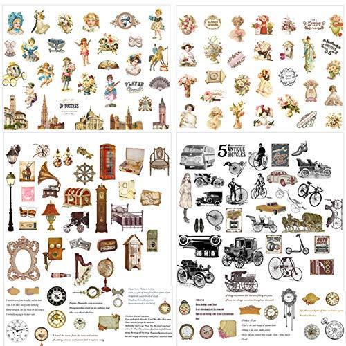 Deko Sticker Aufkleber Set 300 Stück, Vintage Muster Notizbuch Fotoalbum Sticker DIY Handbuch Tagebuch Scrapbooking Dekoration Sticker, Pflanzen, Schmetterlinge, Blumen, Figuren, Architektur (A)