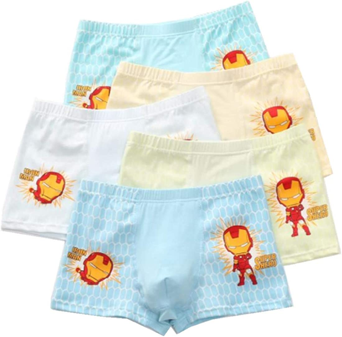 FOFJR 2-13 Years Old Boys Character Boxer Briefs Colorful Cotton Underwear 5 Multipack