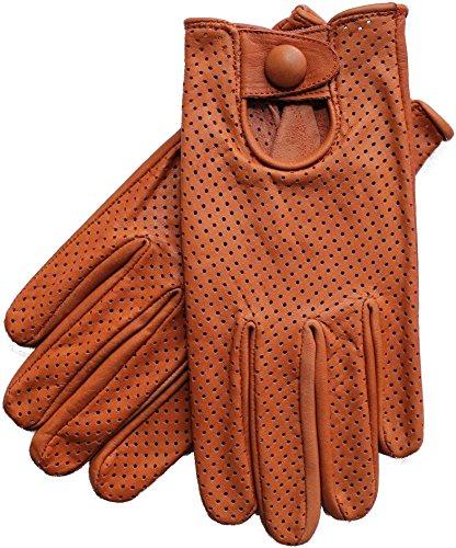 Riparo Motorsports Echte Lederhandschuhe mit Mesh für Männer, L, Cognac