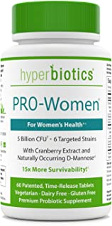 Hyperbiotics PRO-Women Probiotics - 60 Daily Time-Release Tablets with Cranberry Extract and Naturally Occuring D-Mannose - Gluten Dairy Free Supplements and 15x More Survivability Than Capsules