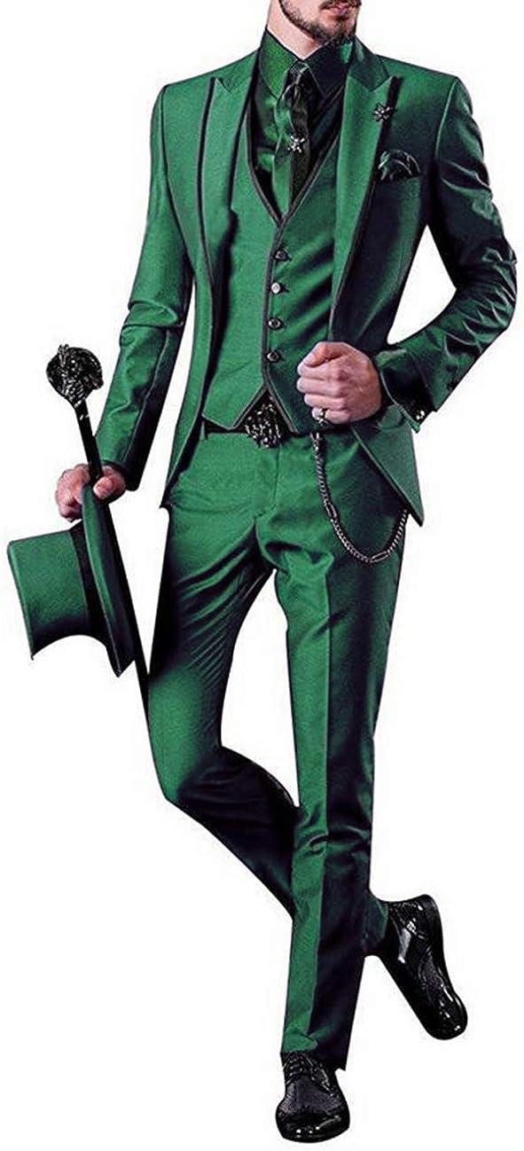 Fahion Men's Suits 3 Pieces Notch Lapel Slim Fit Tuxedos Groomsmen Suit Wedding (Blazer Vest Pants)
