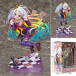 Knmbmg NO Game NO Life: Shiro PVC Figure, Anime Pretty Girl Playing Cards Handmade Model Otaku and Anime Fans' Favorite, Adult Toys Christmas Best Gift High 19CM, Boxed