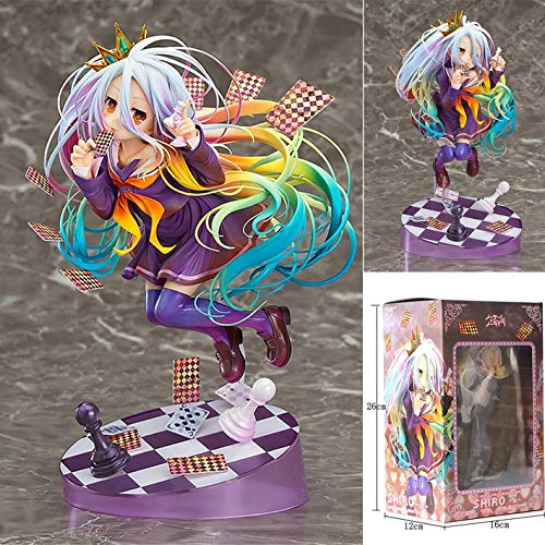 Knmbmg NO Game NO Life: Shiro Figura de PVC, Anime Pretty Girl Playing Cards Modelo Hecho a Mano Otaku y Anime Fans 'Favourite, Juguetes for Adultos Christmas Best Gift High 19CM, Boxed