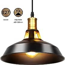 Albrillo Lámpara Colgante Industrial Vintage - Φ27cm de Bombillas E27, Lámpara de Techo Colgantes Para Interiores Clásica de Metal para Comedor, Barra, Café, Negro, IP20