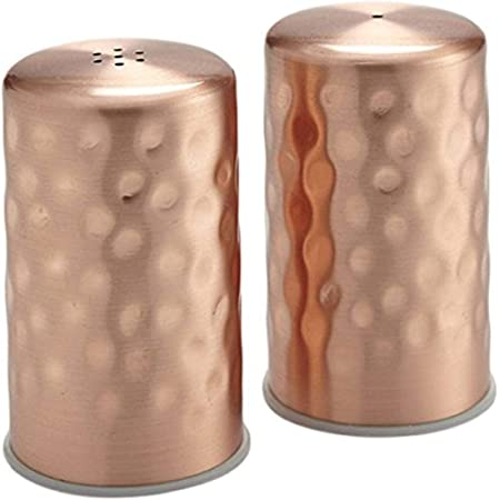 Amazon Com Nu Steel Jumbo Salt Pepper Shaker Set Of 2 15 Oz Stainless Steel With Copper Finish Small Shiny Kitchen Dining