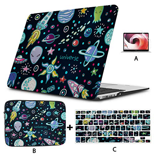 MacBook Pro Accessories Cute Space Seamless Funny MacBook Air Case Hard Shell Mac Air 11'/13' Pro 13'/15'/16' with Notebook Sleeve Bag for MacBook 2008-2020 Version