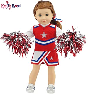 Emily Rose 18 Inch Doll Clothes for American Girl Dolls | 7 Piece USA Modern Doll Cheer Outfit, Including Gym Shoes and Pom-Poms! | Fits 18
