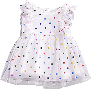 puseky Baby Girls Ruffle Rainbow Polka Dot Dress Princess Mesh Tutu Wedding Party Sundress