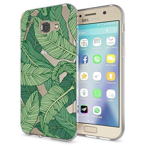 NALIA Custodia compatibile con Samsung Galaxy A3 2017, Cover Protezione Silicone Trasparente Sottile Case, Gomma Morbido Cellulare Ultra-Slim Protettiva Bumper Guscio, Designs:Greenery