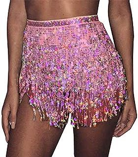 REETAN Boho Belly Skirt Sequins Belly Hip Scarf Tassel Fringe Skirt Rave Party Dance Performance Costume for Women and Girls