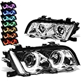 DNA Motoring HL-3D-E4698-CH-7C Chrome Housing Crystal LED U-Halo APP Control Color Changing Headlights For 3-Series
