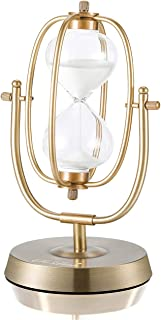 Hourglass Timer 60 Minutes Sand Timer: 12.6-Inch Large Brass Sand Clock, 360° Rotating Antique Sand Watch 60 Min, Vintage ...