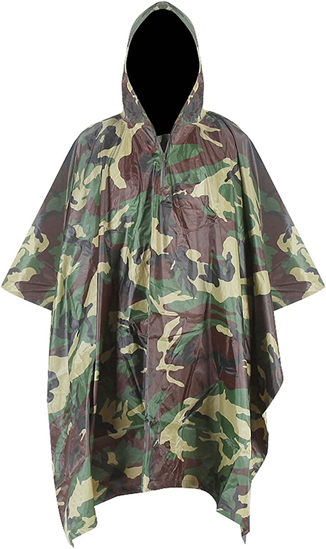 FHGH 3 in 1 Camouflage Raincoat Cloak, Multifunction PVC Hooded Rain Poncho, Waterproof Ground Mat, Portable Sunshade Cloth,C,Medium