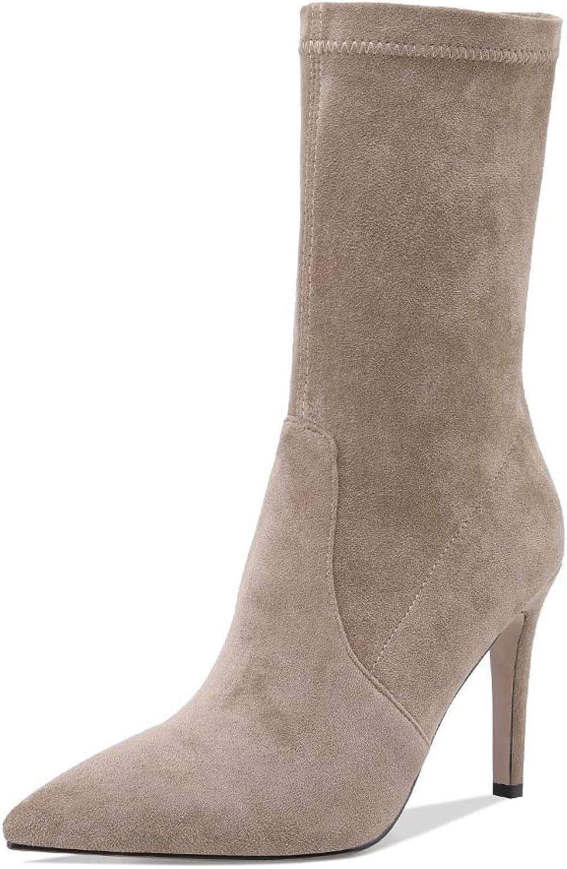 HOESCZS Beste qualitt dünne high Heels Frauen Schuhe Frau Stiefel spitz zehe Slip auf Frauen Party Waden Stiefel,