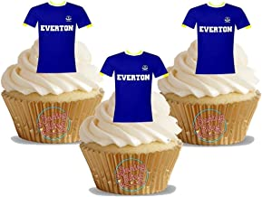 12 x Everton FC Football Shirts - Choose From UNFLAVOURED or VANILLA-SWEETENED Toppers - Fun Novelty Birthday PREMIUM STAND UP Edible Wafer Card Cake Toppers Decorations (Unflavoured)