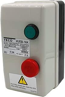 Baomain Magnetic Starter HUEB-16K AC 220V Coil 8.5A-10A-12.5A, 3-Pole Push Button Control Motor