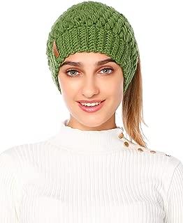 Jueshanzj Women's Stretchy Soft Knitted Winter Messy Bun Beanie