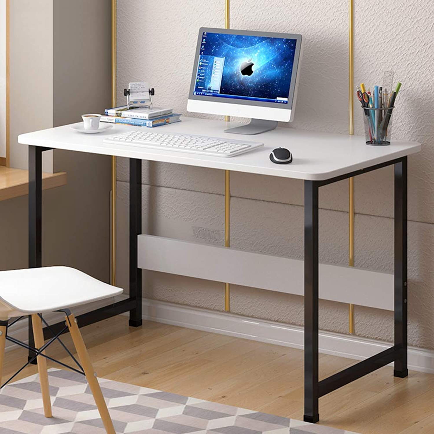 Simplistic Writing Desk Computer Desk, Compact Metal Frame Workstation with Shelf, Computer Table for Home Office Easy Assembly-O 80x40x73cm(31x16x29inch)