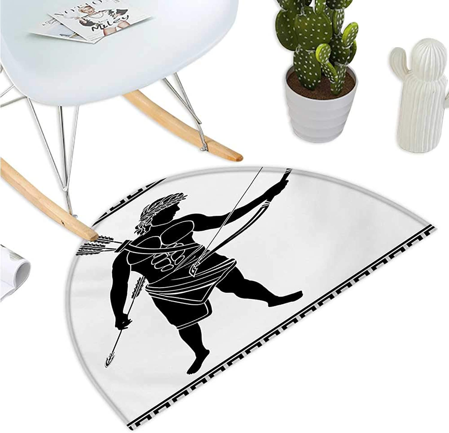 Toga Party Semicircular Cushion Hellenic Bowman Silhouette Eros Fantasy Gladiator Old Mediterranean Print Halfmoon doormats H 39.3  xD 59  Black and White