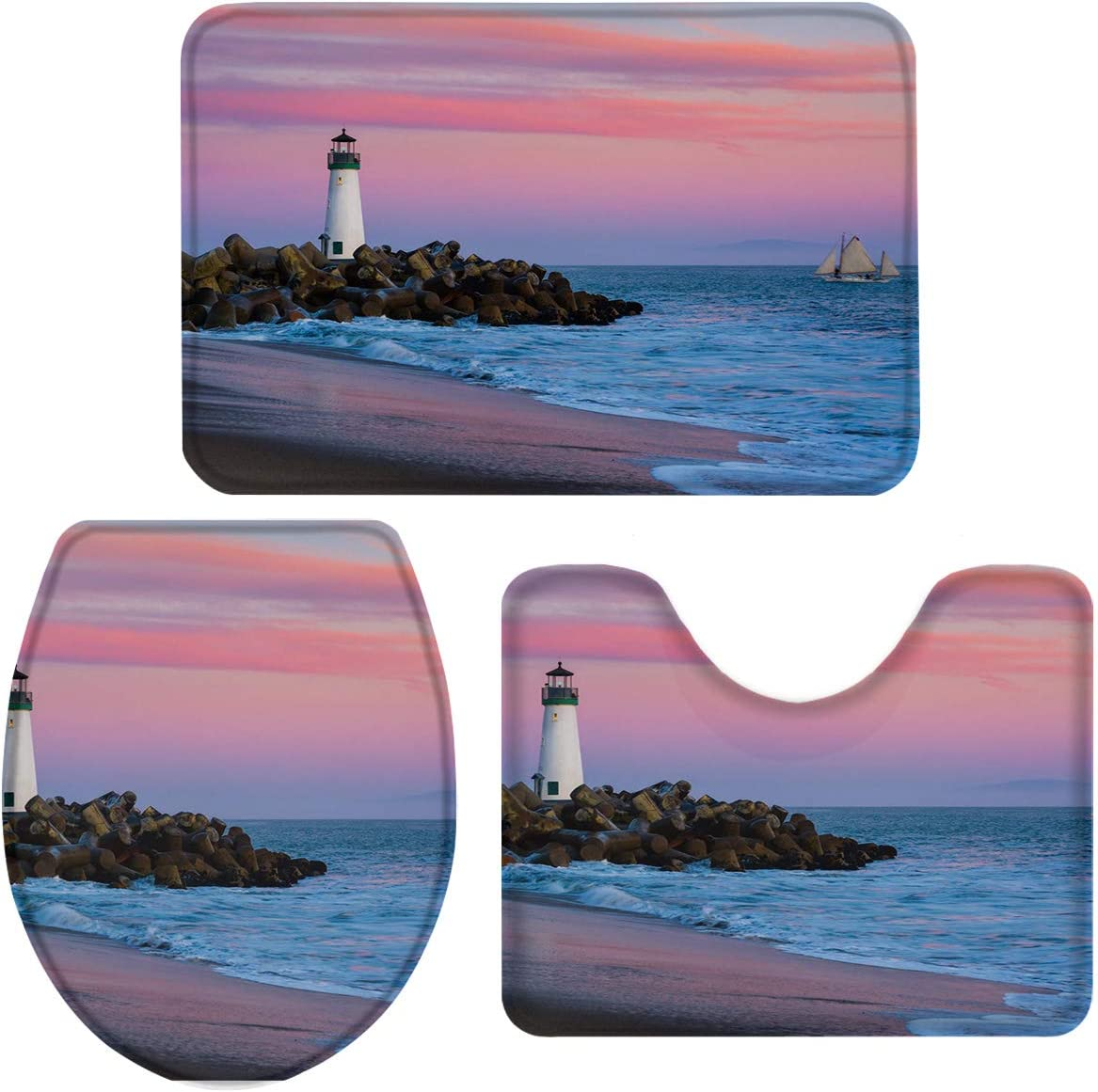 Vandarllin Beach Sunset Lighthouse Sailboat Bathro Plush Fashionable 3 Piece Mesa Mall