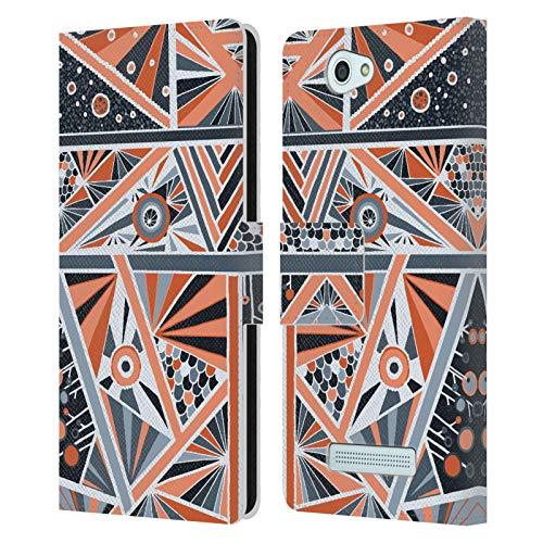 Head Case Designs Offizielle Joan of Art Geometrisches Tangerine Muster & Drucke Leder Brieftaschen Huelle kompatibel mit Wileyfox Spark/Plus