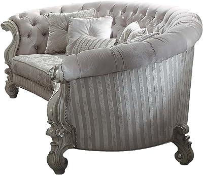ACME Versailles Ivory Velvet Sofa with 5 Pillows