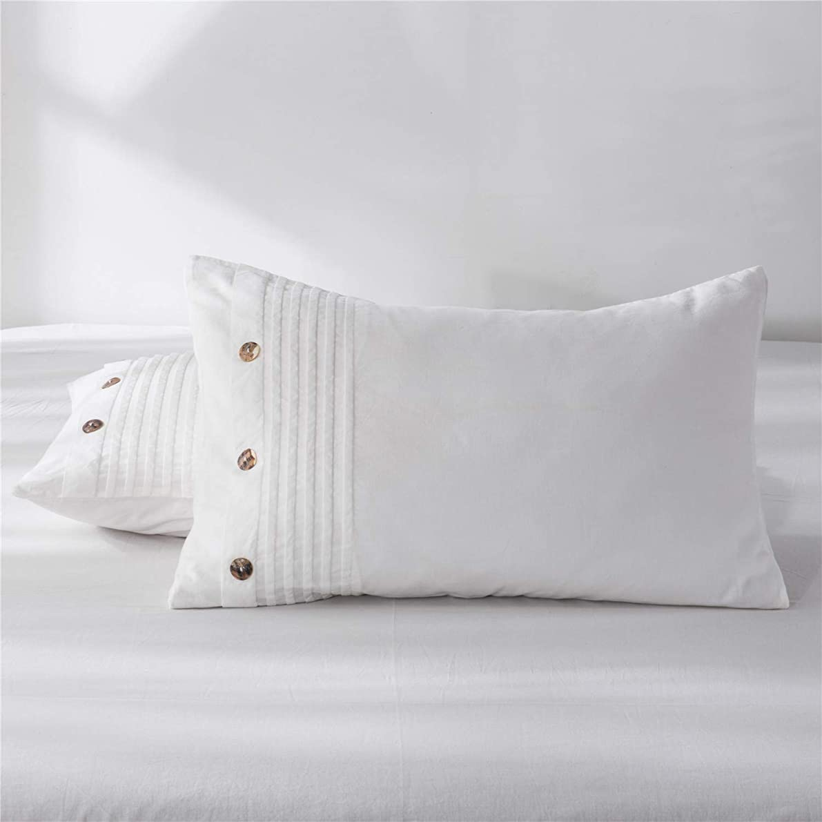 Three Baby 100% Washed Cotton Pillow Cases White Standard Pillowcase 1 Piece Pure Natural 100% Cotton Pillows for Sleeping Soft Bed Pillow Cover White