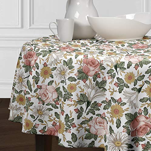 A LuxeHome Blush Rosa, Amarillo, Verde y Blanco Boho Shabby Chic Vintage Floral Acuarela Granja Manteles Comedor Cocina Redondo 90'